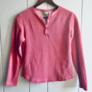 LL Bean Waffle Knit Henley Pink Floral Cotton